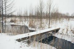 Ländliche Szene des Winters mit Nebel und gefrorenem Flussweinleseeffekt Stockfotografie