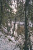 ländliche Szene des Winters mit Schnee und weißem Waldweinleseeffekt Stockbilder