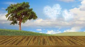 Ländliche Tabelle des hölzernen und freien Raumes mit Sommerlandschaft Stockfotografie