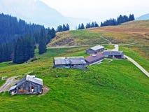 Ländliche traditionelle Architektur und Bauernhöfe mit Viehhaltung in der Obertoggenburg-Region, Stein stockbild