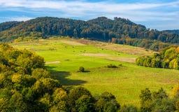 Ländliche Weidenfelder auf Karpatenhügeln Stockfotografie