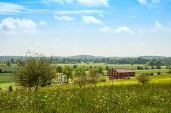 Ländliches Ackerland an Gettysburg-Schlachtfeld Stockfotos