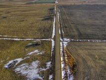 Ländliches Ackerland South Dakota im Vorfrühling Stockbild