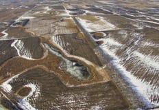 Ländliches Ackerland South Dakota im Vorfrühling Stockbilder