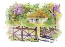 Ländliches Dorf des Aquarells in der grünen Sommertagesillustration Lizenzfreie Stockbilder