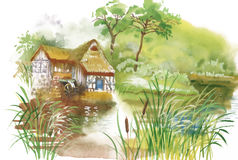 Ländliches Dorf des Aquarells in der grünen Sommertagesillustration vektor abbildung
