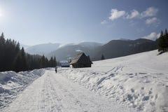Ländliches Häuschen auf dem Weg in den polnischen Bergen Lizenzfreies Stockfoto