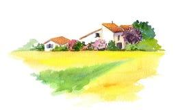 Ländliches Haus und gelbes Feld in Provence, Frankreich watercolor Vektor Abbildung