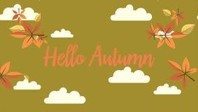 Längd i fot räknat av den Hello hösten med molnbakgrund lager videofilmer