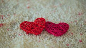 Längd i fot räknat av hjärtagarnering på sand för valentindag