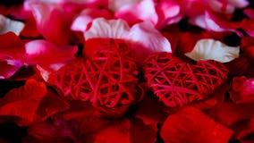 Längd i fot räknat av rosa kronblad och garneringhjärta för valentindag