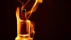 Längd i fot räknat för hd för bakgrund för rök för flaska för exponeringsglasskottalkohol mörk