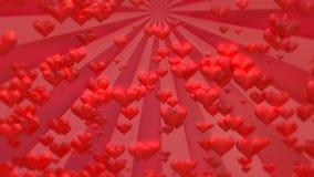 Längd i fot räknat för hjärtor för dag för valentin` s stock video