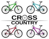 Längdlöpning cyklar i olika färger stock illustrationer