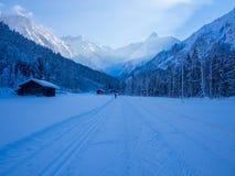 Längdlöpning i vintern, Spielmannsau dal, Oberstdorf, Allgau, Tyskland Royaltyfri Fotografi