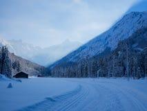 Längdlöpning i vintern, Spielmannsau dal, Oberstdorf, Allgau, Tyskland Royaltyfri Foto