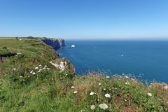 Länge fotvandra slingan GR 23 i den Normandie kusten Arkivfoto