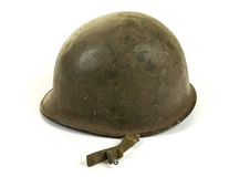 längs sida u för väg s för post för höstaskland S Hjälm för armé WW2 Arkivfoto