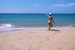 längs strand går Fotografering för Bildbyråer