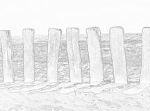 längs strandstaket Arkivbild
