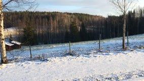 Längs vägen i en vinterplats lager videofilmer