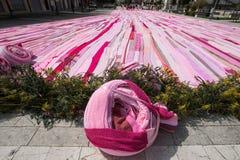 Längst rosa halsduk för Amdos guinness rekord arkivbild