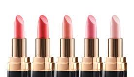 Läppstiftfärger Olika former av makeupprodukten Royaltyfria Bilder