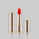 Läppstiftskönhetsmedel i stil för modell för packedesign realistisk på genomskinlig bakgrund Royaltyfri Bild