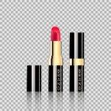 Läppstiftskönhetsmedel i stil för modell för packedesign realistisk på genomskinlig bakgrundsvektorillustration Arkivfoton
