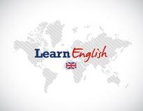 Lär att engelska undertecknar över en världskarta Royaltyfri Bild