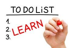 Lär att göra listan arkivfoto