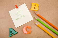 Lär att skriva arkivfoto