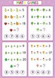Lär den bildande leken för matematik för ungar, roliga arbetssedlar för barn, barn att lösa problem vektor illustrationer
