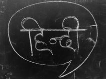 Lär Hindi Handwritten Letter på svart tavla Royaltyfri Bild