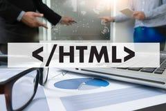 Lär HTML, rengöringsdukutveckling och rengöringsdukdesignen, moderiktig lång skugga Arkivbilder