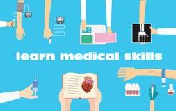 Lär illustrationen för medicinska tillvägagångssätt Begreppsmässig illustration för medicinsk utbildning Arkivfoto