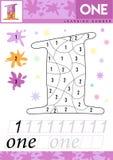 Lär nummer 1 en Ungar lär att räkna arbetssedeln Bildande lek för barn för nummer också vektor för coreldrawillustration royaltyfri illustrationer