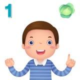 Lär numret och att räkna med kid'shanden som visar nummernollan stock illustrationer