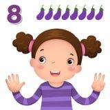 Lär numret och att räkna med kid'shanden som visar numret e stock illustrationer