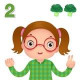 Lär numret och att räkna med kid'shanden som visar numret t stock illustrationer