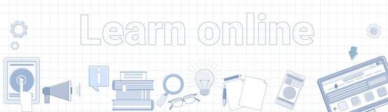 Lär online-ordet på kvadrerat begrepp för utbildning för bakgrundshorisontalbanerElearning Royaltyfri Fotografi