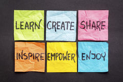 Lär, skapa, dela och inspirera arkivbilder