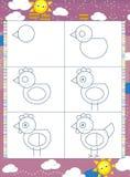 Lära att dra - illustrationen för barnen stock illustrationer