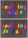 Lära den roliga skolan för stavning märker alfabet Royaltyfri Foto