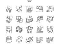 Lära dentillverkade linjen raster 2x för symboler 30 för perfekt vektor för PIXEL tunna för rengöringsdukdiagram och Apps stock illustrationer