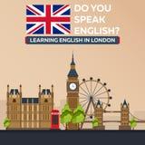 Lära engelska i London London sity Utbildning i England Plan design stock illustrationer