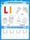 Lära för alfabet och färgbokstav L stock illustrationer