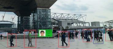 Lära för Iot maskin med människa- och objekterkännande som använder konstgjord intelligens till analytisk och identisk c för mätn royaltyfri foto