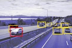 Lära för maskin och AI att identifiera objektteknologi, begrepp för konstgjord intelligens Avbilda att bearbeta, erkännande royaltyfri fotografi
