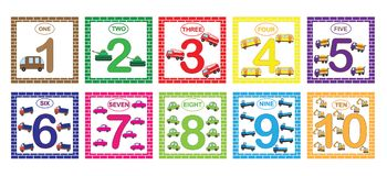 Lära nummer, matematik med biltransport Bildkort med nummer från 1 till 10, uppsättning Lek för barn Royaltyfri Bild
